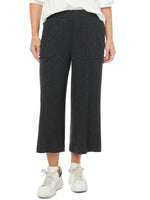 Pull-on Ribbed Black Knit Cropped Gaucho Pants