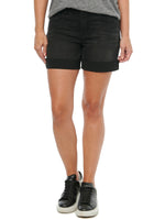 """Ab""solution High Rise Embroidered Pockets 5"" Black Denim Shorts"