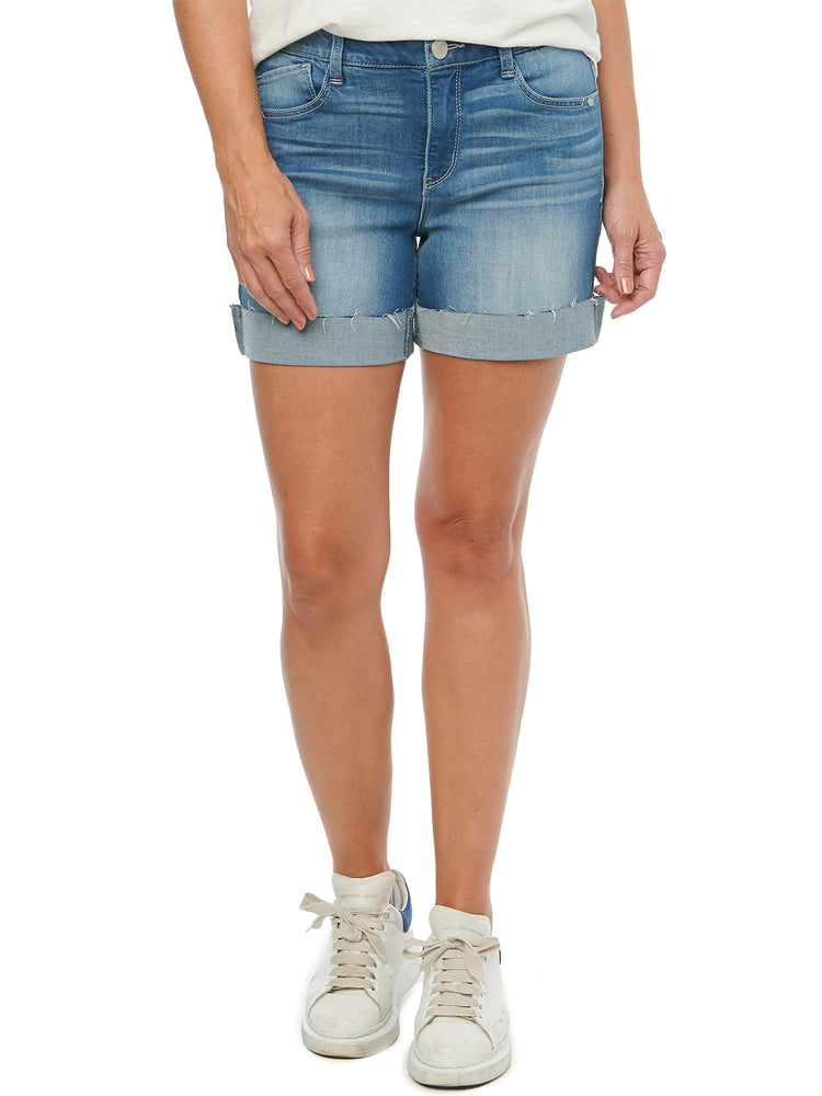 """Ab""solution High Rise Light Blue Luxe Denim Shorts"
