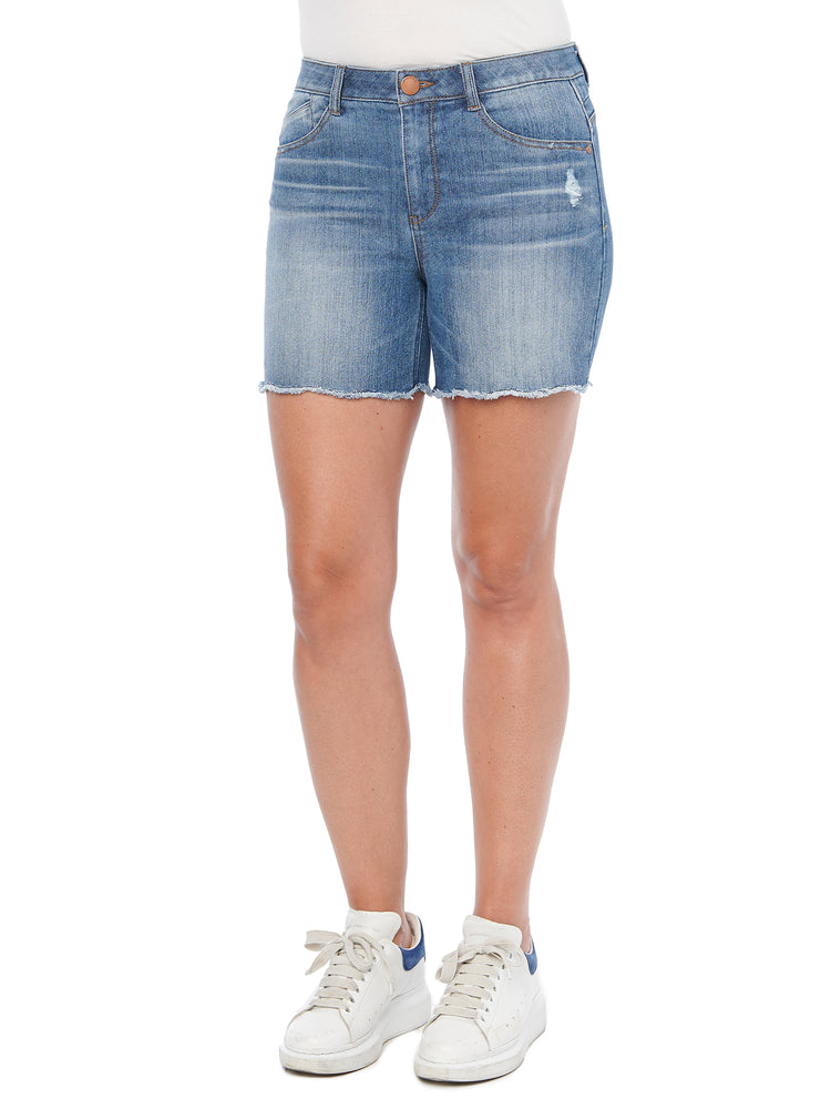 """Ab""solution High Rise Mid Blue Denim Scallop Fray Hem Shorts"
