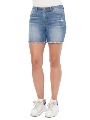 """Ab""solution High Rise Blue Wash Stretch Denim Distressed Shorts Scallop Frayed Hem Jean Short"