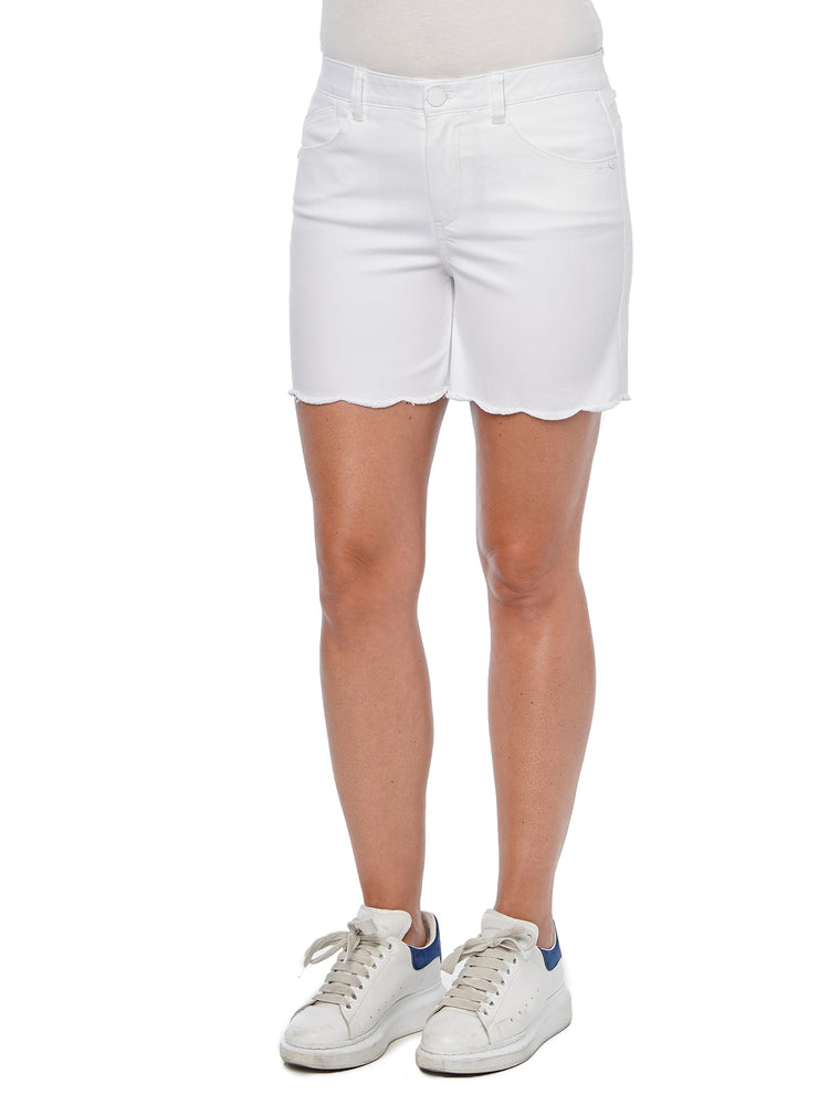 """Ab""solution High Rise White Scallop Fray Hem Shorts"