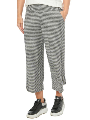 Womens Loungewear Pants High Waisted Soft Stretch Heather Gray and Black Stripe Pull On High Rise Gaucho Culottes