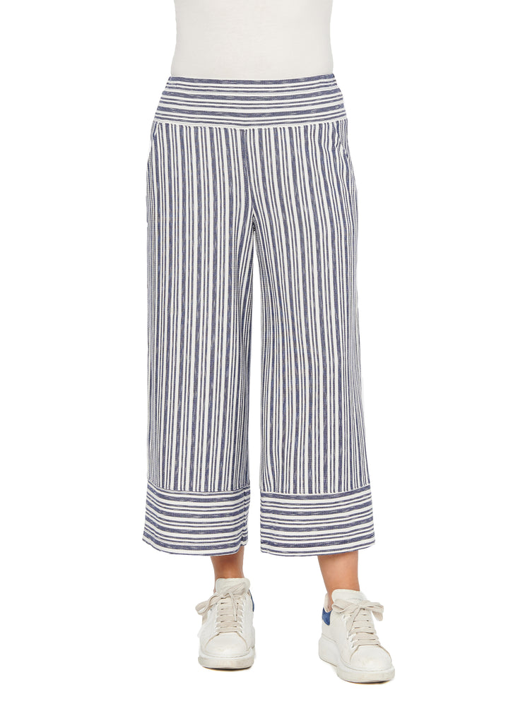 Navy & White Stripe Gaucho Cropped Knit Pants