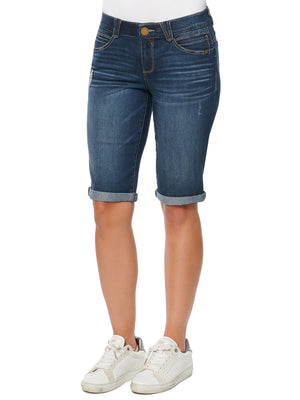 "Load image into Gallery viewer, ""Ab""solution Booty Lift Stretch Denim Blue Wash Bermuda Short Rolled Cuff Shorts"
