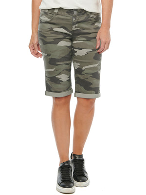 Absolution Cuffed Bermuda Booty Lift Shorts Stretch Camouflage Sage Olive Green Long Shorts