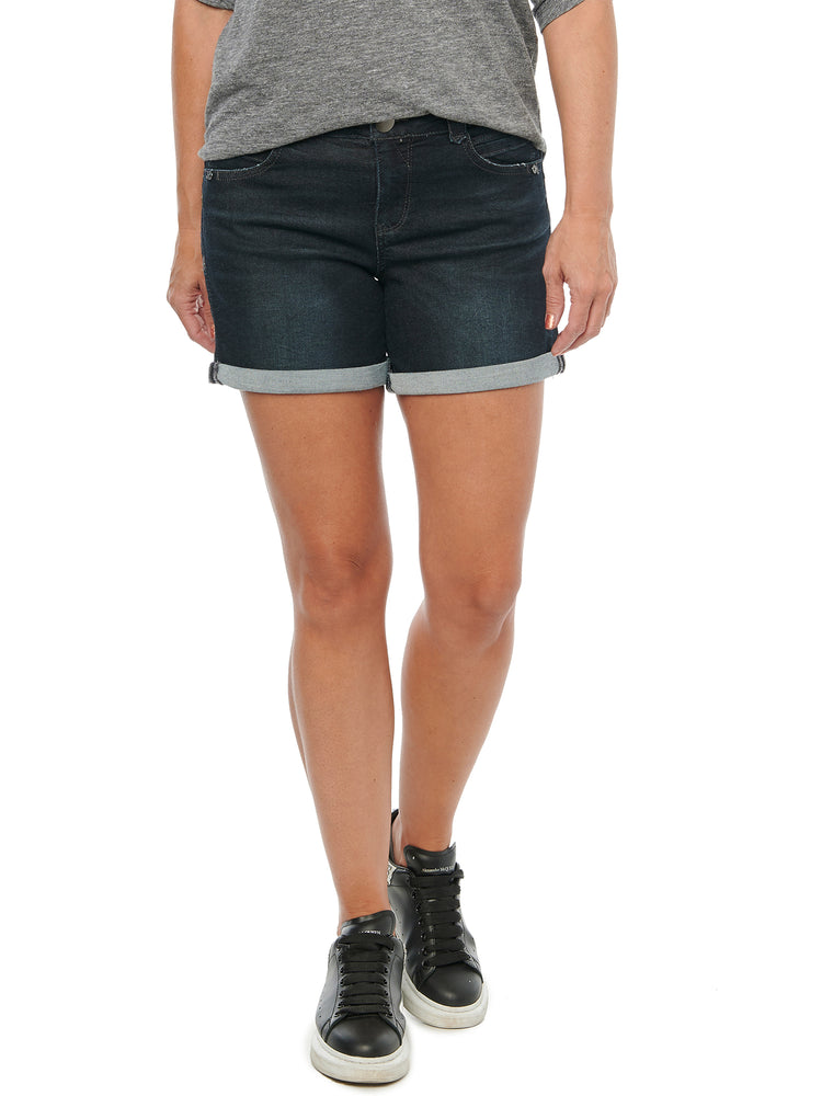 """Ab""solution Dark Indigo 5"" Inseam Denim Shorts"