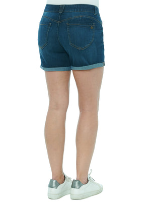"Load image into Gallery viewer, ""Ab""solution 5"" Inseam Distressed Indigo Denim Short"