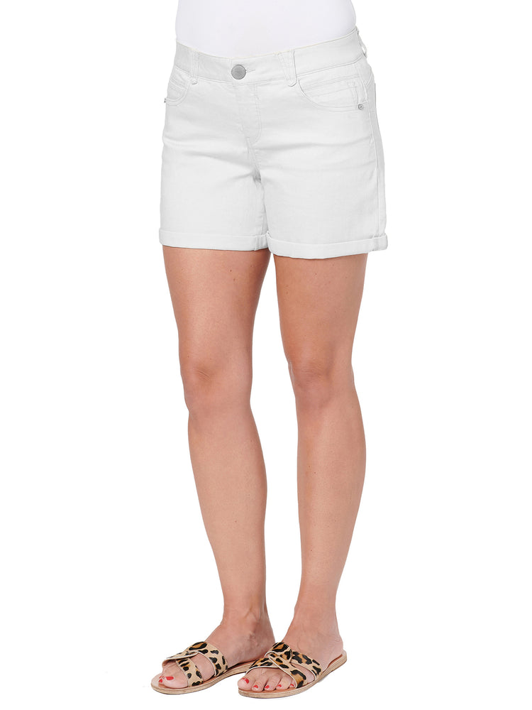 "Load image into Gallery viewer, ""Ab""solution 5"" White Denim Shorts"