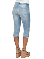 """Ab""solution Light Blue Denim Skimmer Capri"