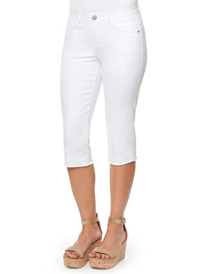 absolution stretch optic white denim skimmer capri