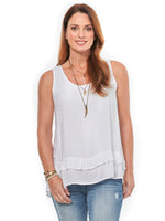 Sleeveless Off White Double Flounce Top