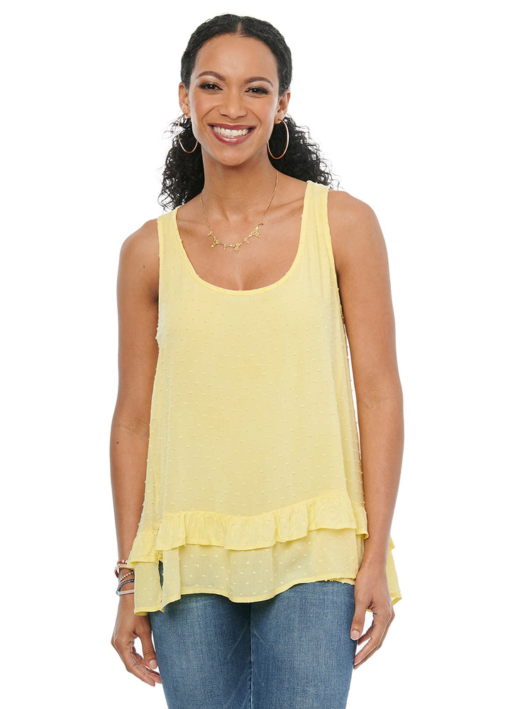 Load image into Gallery viewer, Womens Fashion Knit To Woven Sleeveless Swiss Dot Tank Top Tie Ribbon Back Flounce Hem Daffodil Yellow Blouse