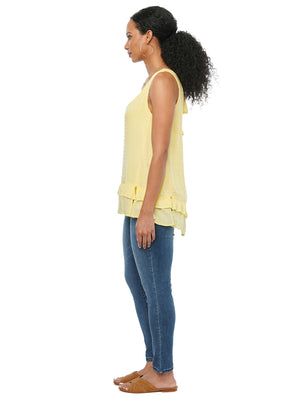 Load image into Gallery viewer, Sleeveless Swiss Dot Woven Gauze & Knit Tank Top