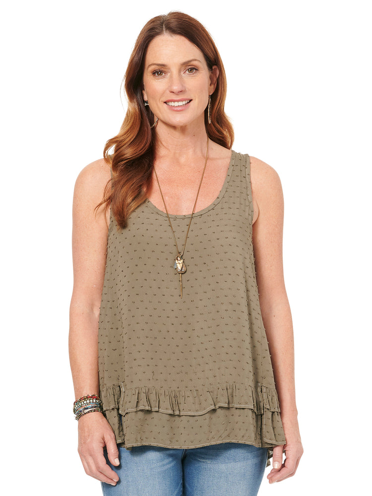 Sleeveless Tie Back Knit & Woven Top