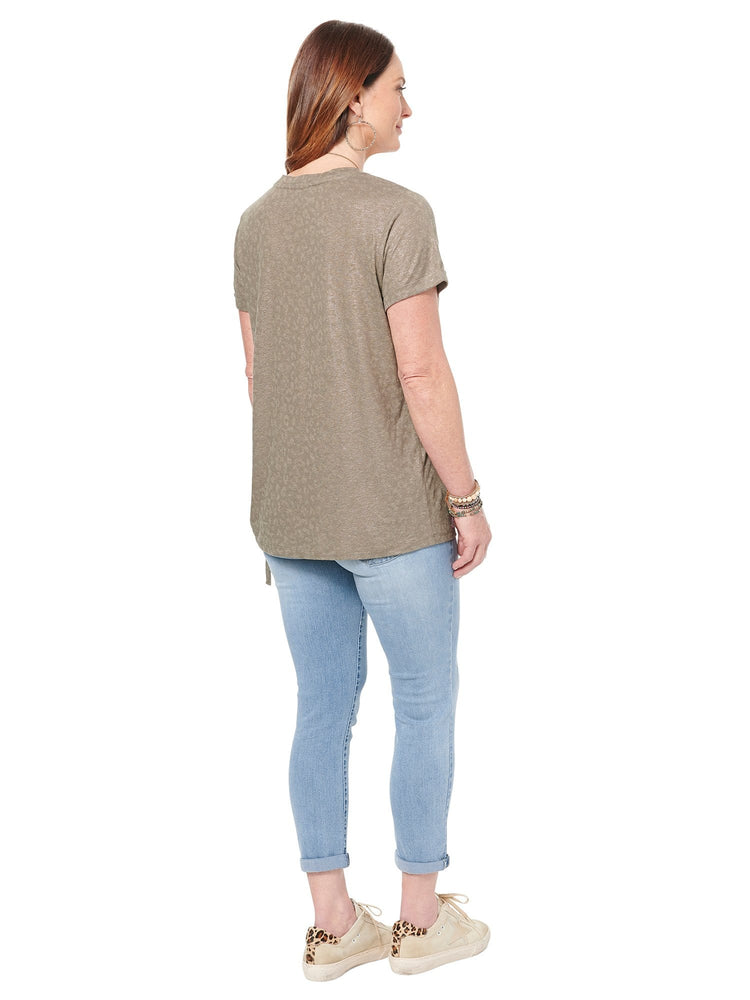 V Neck Animal Foil Side Tie Tee
