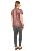 V Neck Animal Print Foil Side Tie Tee