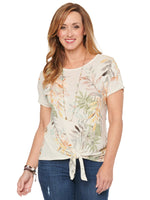 Short Sleeve Scoop Neck Tie Hem Tropical Print Knit Top