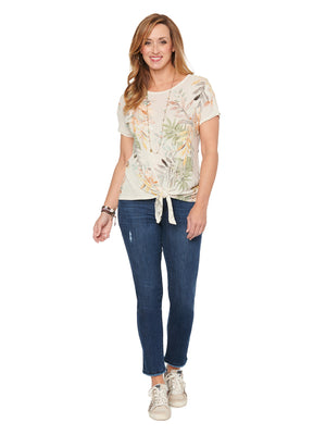 Load image into Gallery viewer, Short Sleeve Scoop Neck Tie Hem Tropical Print Knit Top
