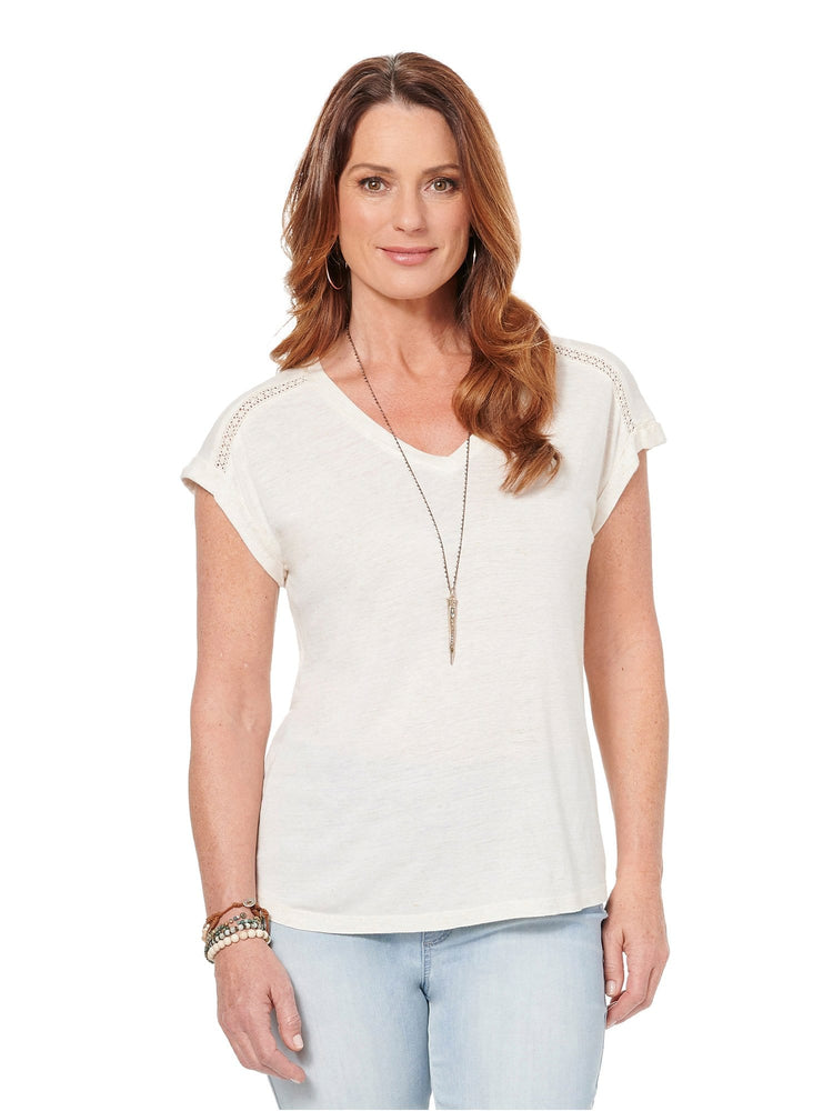 Short Sleeve Roll Cuff V Neck Hi Low Fashion Tee Shirt Heather Linen