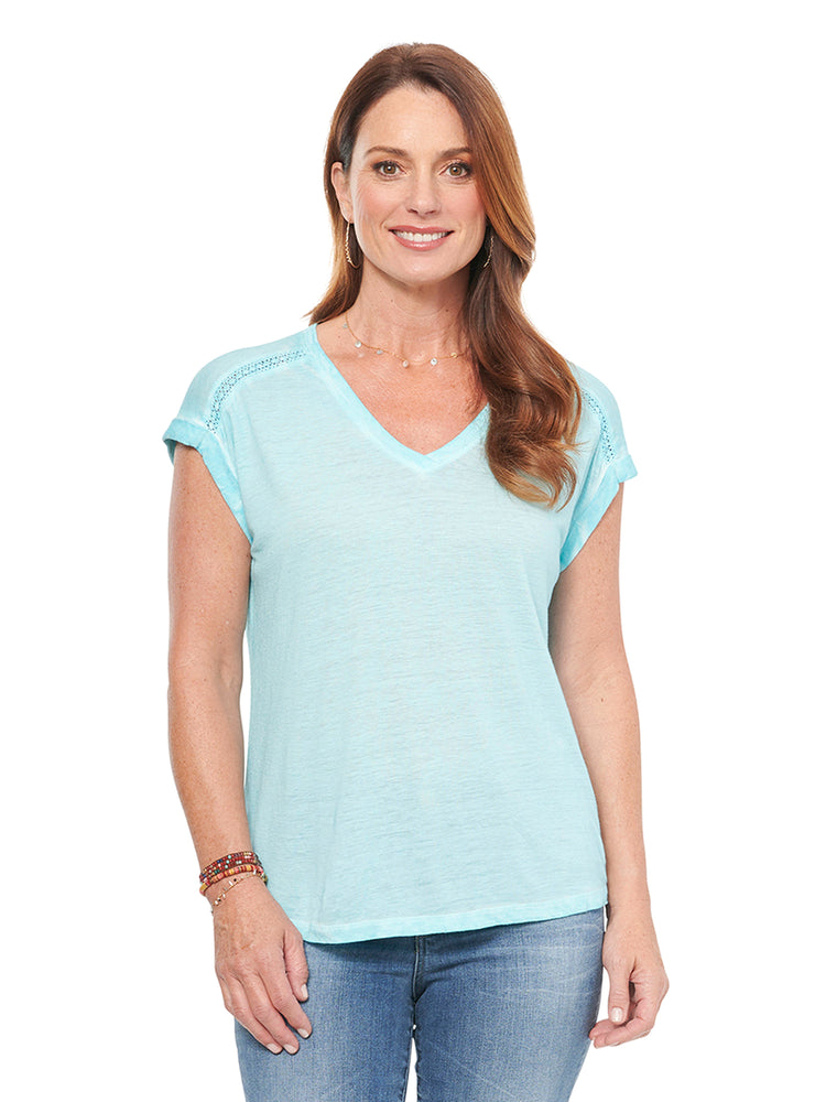Short Sleeve Roll Cuff V Neck Hi Low Fashion Tee Shirt Ocean Mist Soft Turquoise Blue