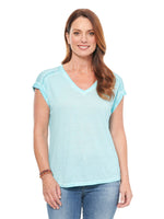 Roll Cuff V Neck Hi Low Tee