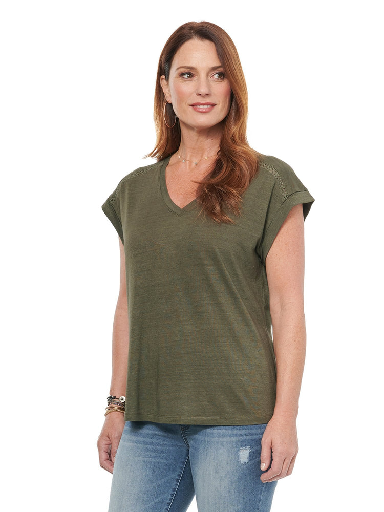 Short Sleeve Roll Cuff V Neck Hi Low Fashion Tee Shirt Olive