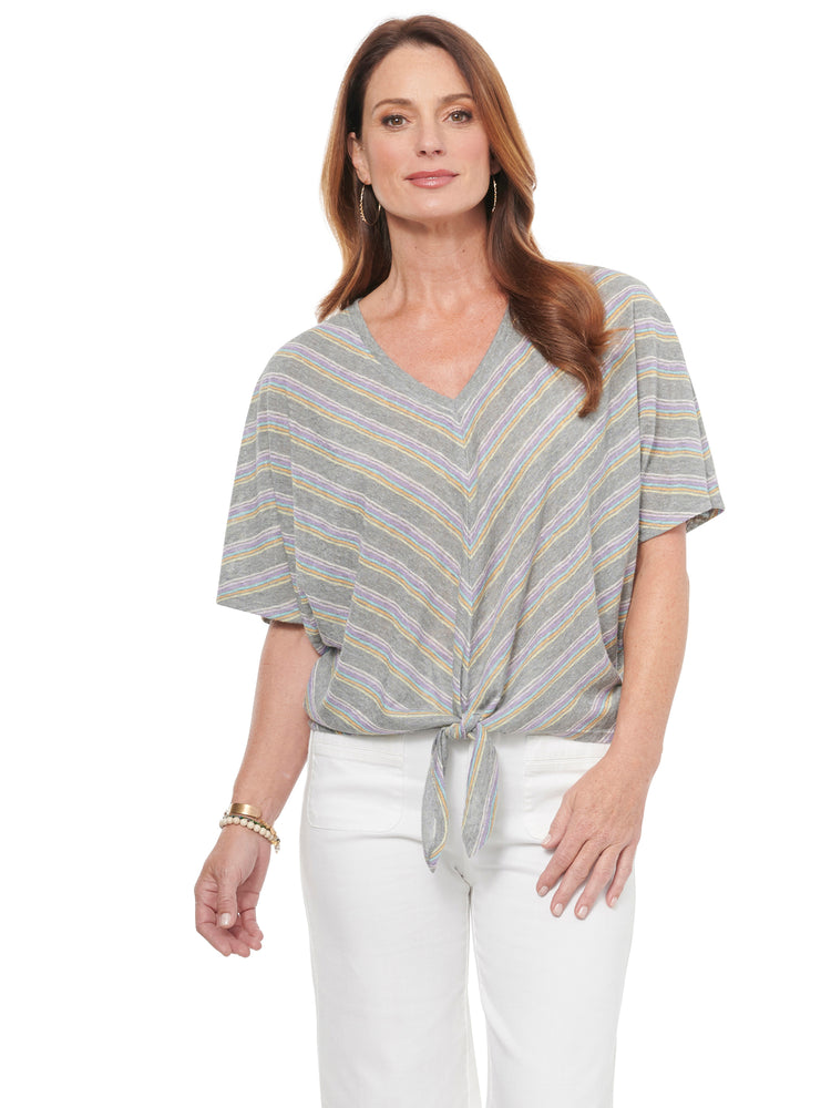 Dolman V Neck Tie Front Mitered Stripe Knit Top