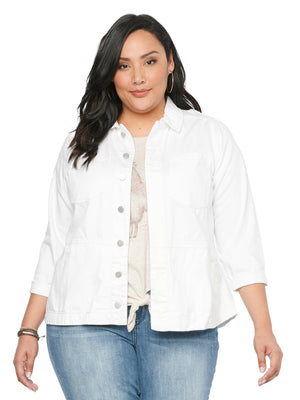 Drop Shoulder 100% Cotton White Denim Plus Size Jean Jacket