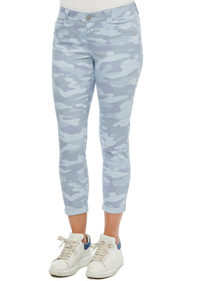Absolution stretch camouflage petite ankle skimmer blue grey fog colored ankle length jeggings