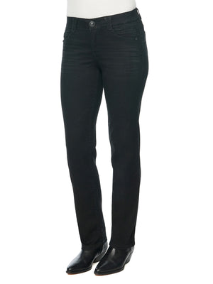"Load image into Gallery viewer, ""Ab""solution Petite Straight Leg Stretch Denim Black Jeans Women's"
