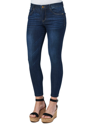 Absolution High Rise Ankle Length Stretch Indigo Denim Petite Jeans For Women