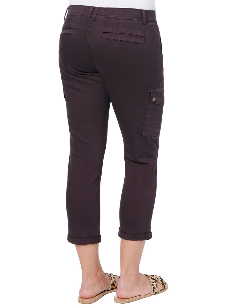 """Ab""solution Roll Cuff Petite Cabernet Utility Pant"