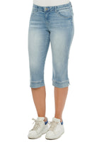"""Ab""solution Light Blue Vintage Denim Petite Skimmer Capri"
