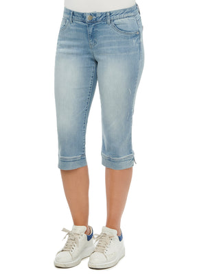 Load image into Gallery viewer, Absolution Mid Rise Cropped Capri Vintage Light Blue Denim Split Hems Luxe Touch Super Soft Stretch Denim