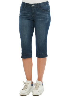 Absolution Mid Rise Cropped Capri Dark Indigo Denim Split Hems Jeans Bamboo Stretch Viscose Tanboocel Soft Denim