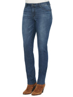 """Ab""solution High Rise Distressed Indigo Petite Straight Leg"