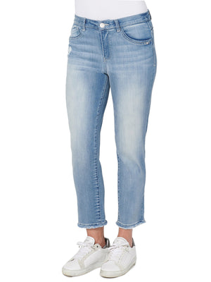 "Luxe Touch Premium Stretch Light Blue Distressed Petite Denim ""Ab""solution High Rise Slim Straight Leg High Waisted Jeans"