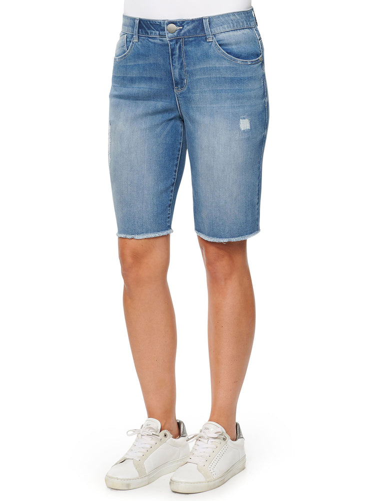 Ab Technology Petite High Rise Light Blue Stretch Denim Retro Bermuda Luxe Touch Frayed Hem Shorts