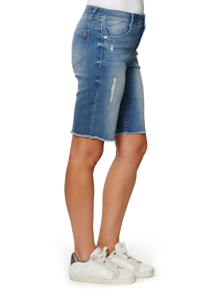 "Load image into Gallery viewer, ""Ab""Technology High Rise Retro Bermuda Fray Hem Shorts"