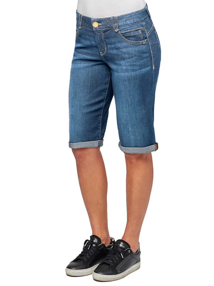 "Load image into Gallery viewer, ""Ab""solution Petite Size Stretch Denim Blue Bermuda Shorts"