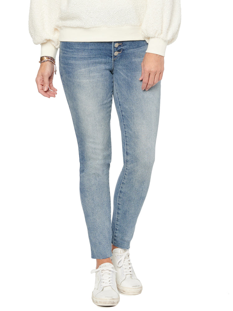 """Ab""solution High Rise Button Fly Ankle Length Petite Jean"