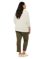 3/4 Sleeve Scoop Neck Pocket Plus Knit Top