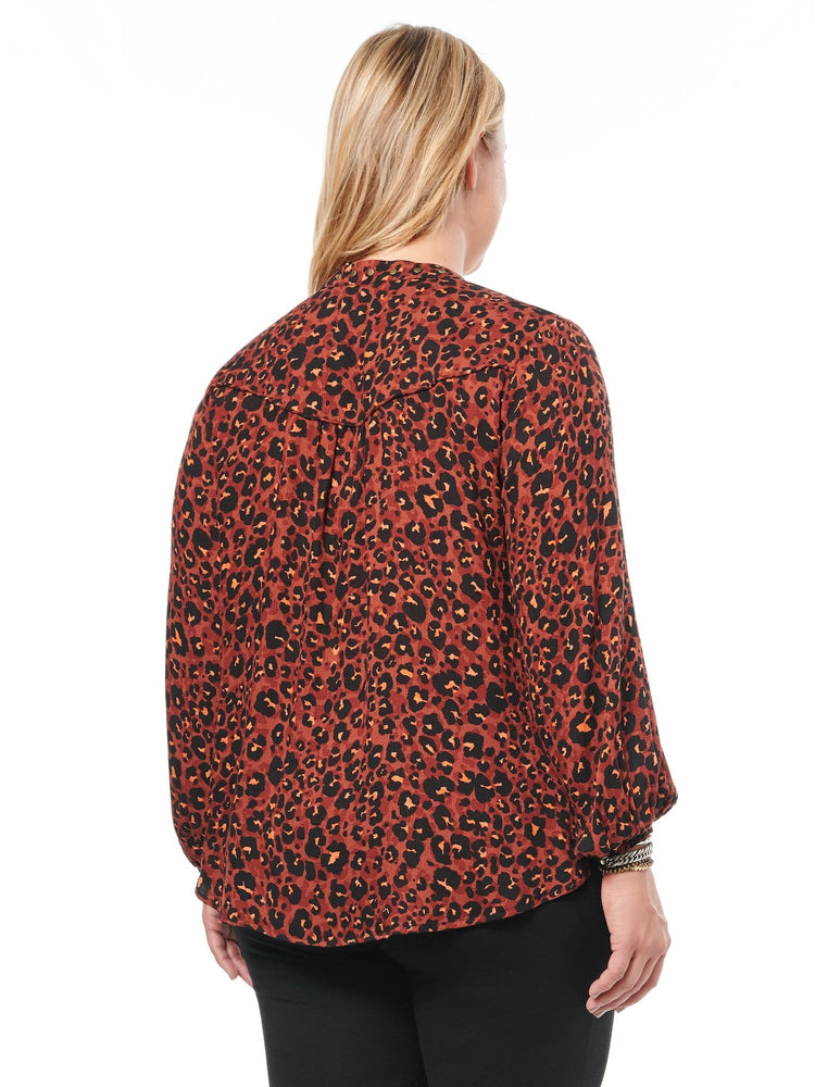 Leopard Blouson Studded Stand Collar Plus Woven Top