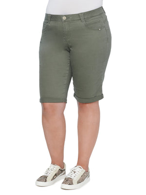 """Ab""solution Stretch Colored Denim Olive Bermuda Shorts Plus Size"