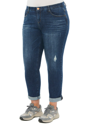 Load image into Gallery viewer, Absolution Distressed Blue Stretch Denim Jeans Plus Size Girlfriend Pants Boyfriend Jean