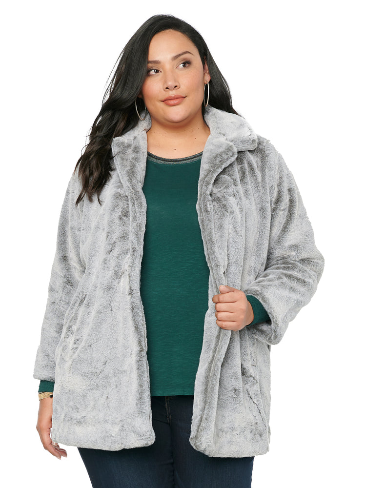 Faux Fur Frosted Grey Mid Length Plus Size Coat Jacket