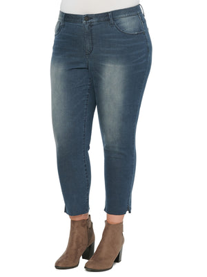 Load image into Gallery viewer, Absolution Plus Size Ankle Length Vintage Skinny Dark Indigo Stretch Artisanal Denim Jeans