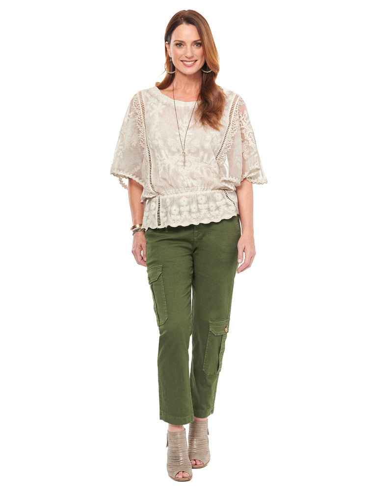 Butterfly Sleeve Embroidered Woven Top