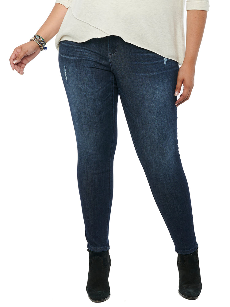 Absolution Stretch Denim Plus Size Booty Lift Distressed Indigo Blue Jeggings Skinny Jeans